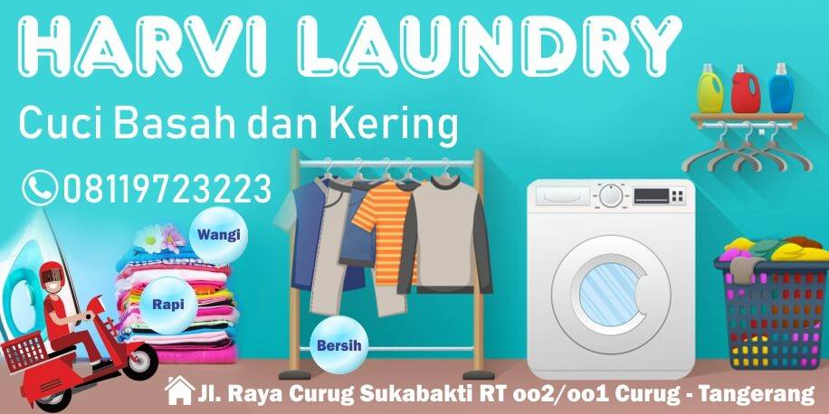 Spanduk Laundry Tahan Lama Desain Bisa Request Proses Cepat